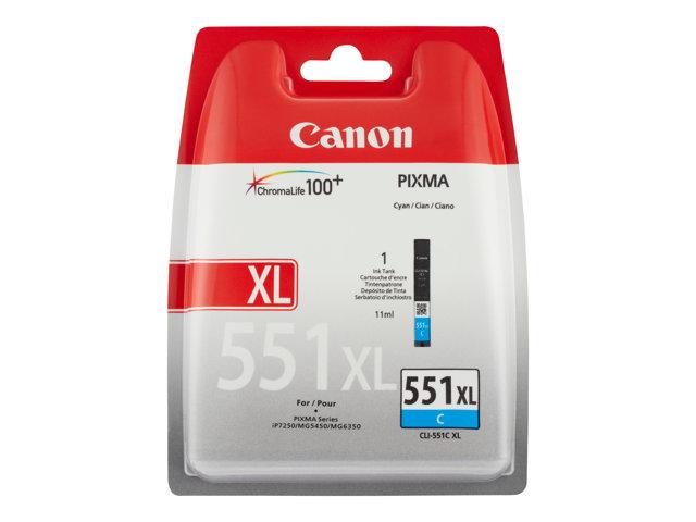 Canon CLI-551C XL - Hoog rendement - cyaan - origineel - blister met beveiliging - inkttank - voor PIXMA iP8750, iX6850, MG5550, MG5650, MG5655, MG6450, MG6650, MG7150, MG7550, MX725, MX925