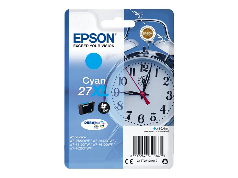 EPSON 27XL inktcartridge cyaan high capacity 10.4ml 1.100 pagina s 1-pack blister zonder alarm - DURABrite ultra inkt