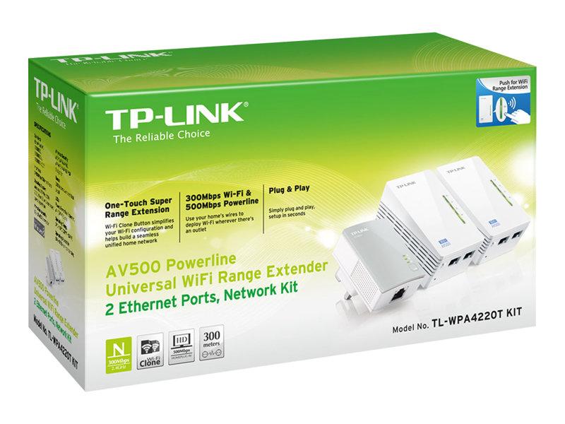 TP-LINK TL-WPA4220T KIT AV500 Powerline Universal WiFi Range Extender, 2 Ethernet Ports, Network Kit - TL-WPA4220T KIT