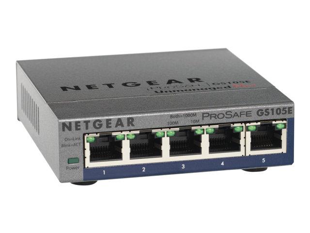 NETGEAR GS105E-200PES ProSafe Plus 5-port Gigabit Ethernet Switch - Switch - unmanaged - 5 x 10/100/1000 - desktop