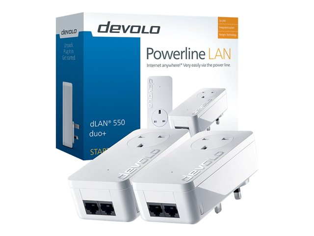 Devolo dLAN 550 duo+ Starter Kit 500Mbit/s Ethernet LAN Wit 2stuk(s) PowerLine-netwerkadapter