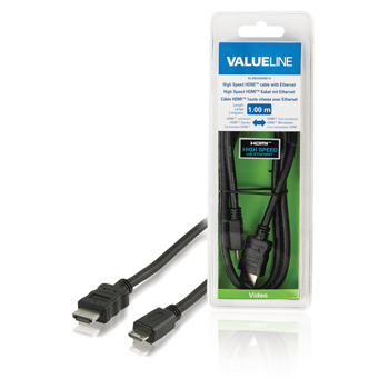 High Speed HDMI-kabel met ethernet HDMI-connector - HDMI mini-connector 1,00 m zwart