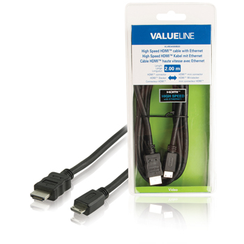 Valueline High Speed HDMI-kabel met ethernet HDMI-connector - HDMI mini-connector 2,00 m zwart