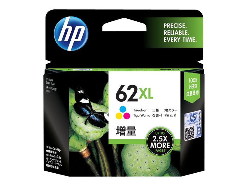 HP 62XL - hoog rendement - driekleurig - origineel - inktcartridge