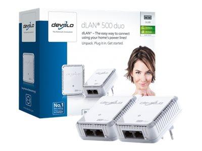 Devolo dLAN 500 duo - Starter Kit - bridge - HomePlug 1.0 - aansluitbaar aan muur 2 adapters DEV9117