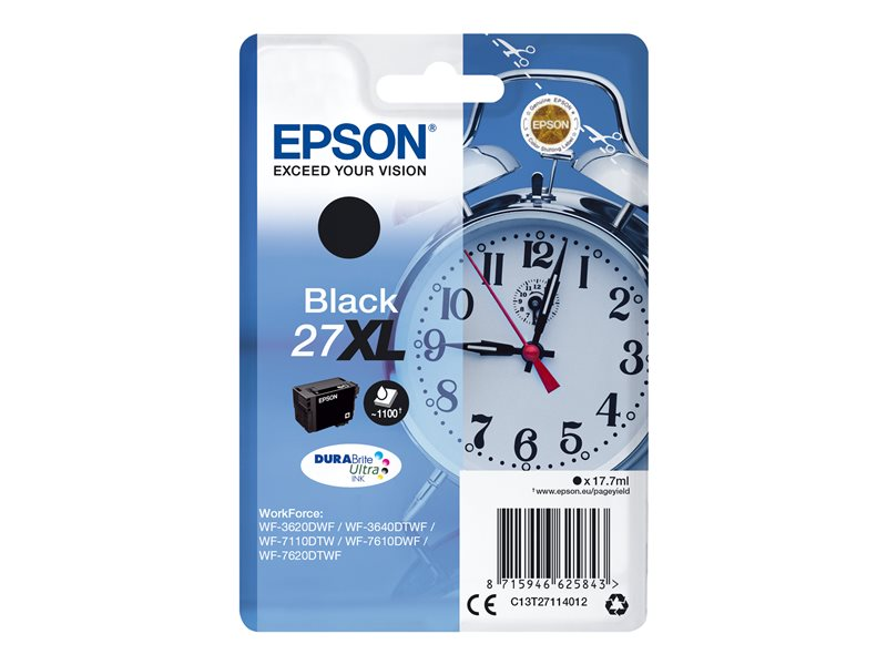 EPSON 27XL inktcartridge zwart high capacity 17.7ml 1.100 pagina s 1-pack blister zonder alarm - DURABrite ultra inkt