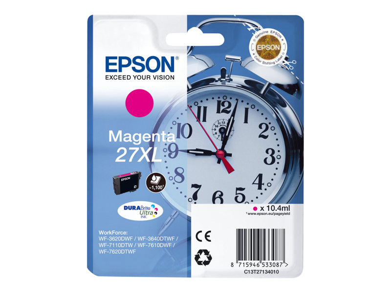 EPSON 27XL inktcartridge magenta high capacity 10.4ml 1.100 pagina s 1-pack blister zonder alarm - DURABrite ultra inkt