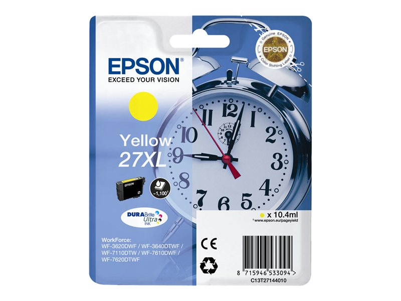 EPSON 27XL inktcartridge geel high capacity 10.4ml 1.100 pagina s 1-pack blister zonder alarm - DURABrite ultra inkt
