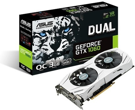 ASUS DUAL-GTX1060-O3G GTX1060 DVI 2xHDMI 2xDisplayPort 3GB GDDR5