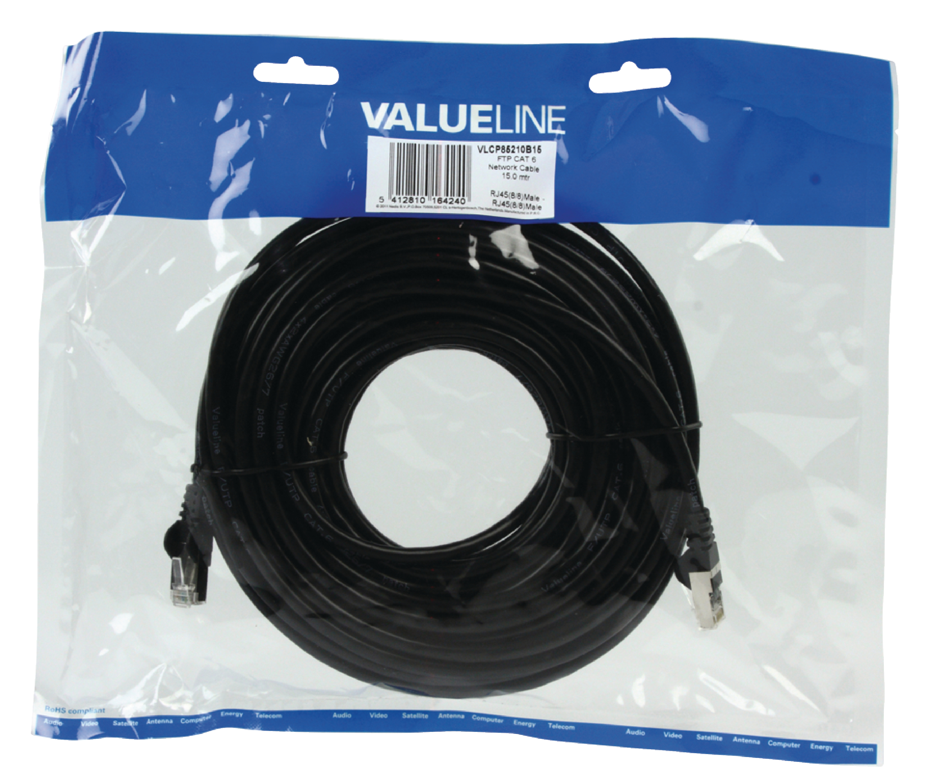 Valueline CAT6 F/UTP Netwerkkabel RJ45 (8/8) Male - RJ45 (8/8) Male 15.0 m Zwart