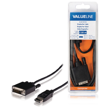 Valueline DisplayPort Kabel Male - DVI-D 24+1-Pins Male 2.00 m Zwart