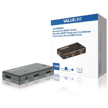 Valueline HDMI Schakelaar 2x HDMI-Ingang - HDMI-Uitgang Zwart