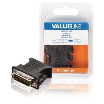 Valueline DVI-Adapter DVI-I 24+5-Pins Male - VGA Female 15-Pins Zwart