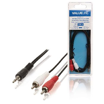 Valueline Stereo Audiokabel 3.5 mm Male - 2x RCA Male 1.50 m Zwart