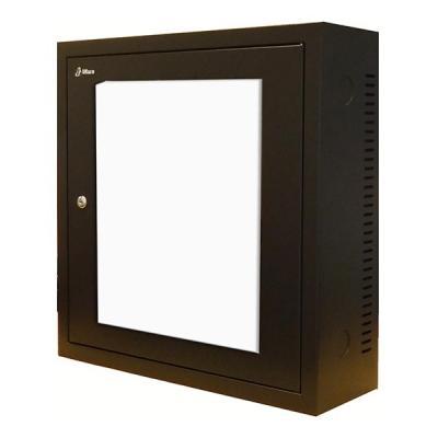Compact 3U wandkast - (BxHxD) 600x600x185 - zwart - glazendeur
