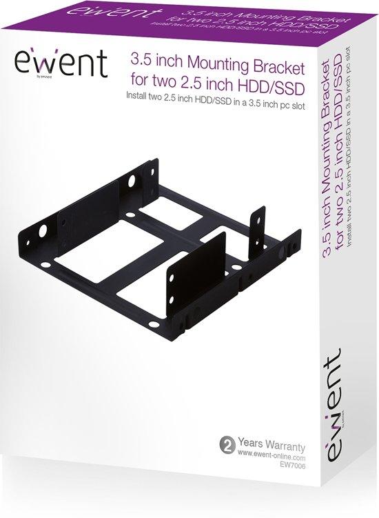 Ewent EW7006 5,25 drive bay panel 8,89 cm (3.5)  dubbel Bezelplaat Zwart