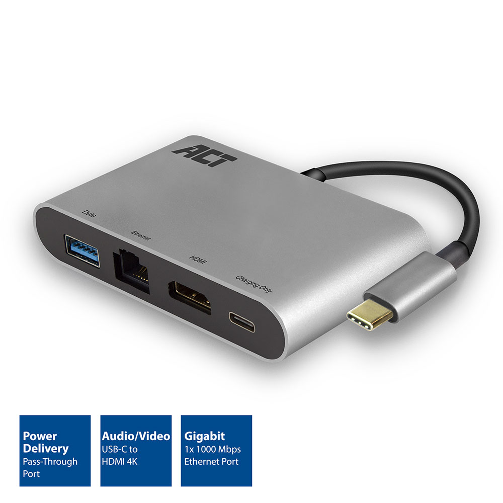 ACT USB-C 4K Multiport Dock met HDMI, USB-A, Gigabit Ethernet en USB-C met PD Pass-Through 60W, kabellengte 0.15m, aluminium behuizing