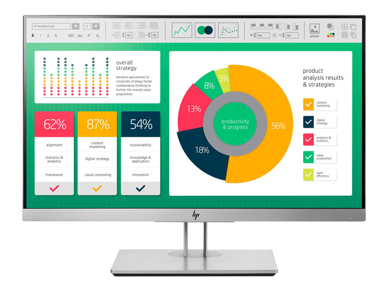 HP EliteDisplay E223 21,5 IPS FHD, HDMI, DP, VGA, Zilver zwart